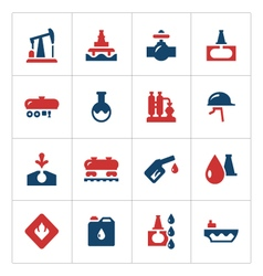 Set color icons of oil industry vector