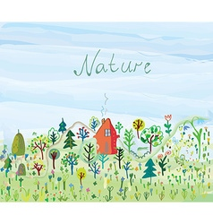 Nature background with trees and grass for tourism vector