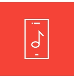 Phone with musical note line icon vector