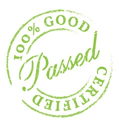 Passed green rubber stamp on white vector
