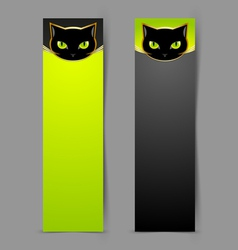 Black cat head banners vector