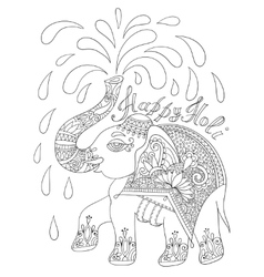 black and white decorative elephant with vector image