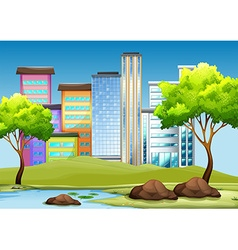 Buildings and park in the city vector image vector image
