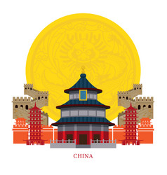 china landmarks with decoration background vector image