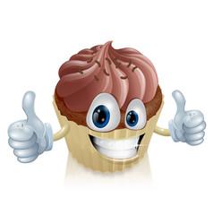 chocolate cupcake mascot vector image vector image