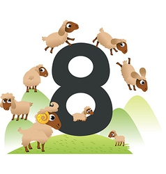 Collection number for kids farm animals - number 8 vector image vector image