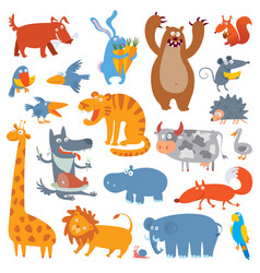 Cute zoo animals vector