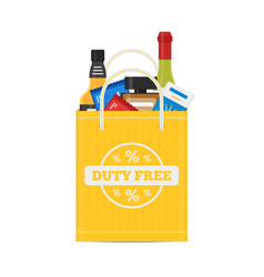 flat icons of duty free shop and goods at vector image