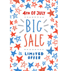fourth of july sale poster design vector image