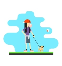 Geek Hipster Girl Lifestyle Dog Bird Sky vector image vector image
