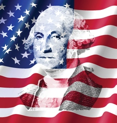 George washington on united of america flag vector