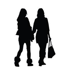 girl walking silhouette vector image