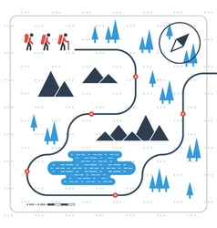 Group of people on trail map vector