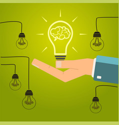 Hand holding a bright light bulb concept of vector