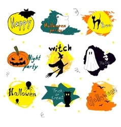 Happy Halloween day silhouette collections design vector image vector image