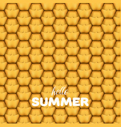 Hello summer letters in pineapple texture vector