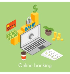 isometric concept for online banking credit card vector image vector image