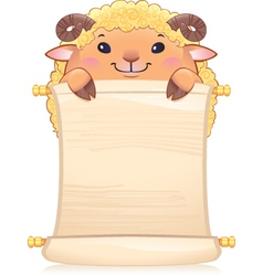 Lamb with scroll vector image vector image