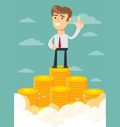 Man proudly standing on the huge money staircase vector