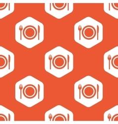 Orange hexagon dinner pattern vector image