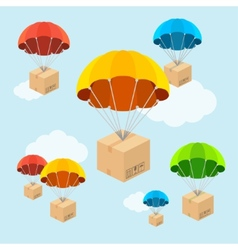 parachute fly with clouds Flat Design vector image vector image