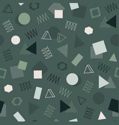Retro memphis geometric line shapes seamless vector