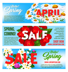 Sale banners of springtime floral design vector