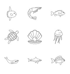 sea nature icons set outline style vector image vector image