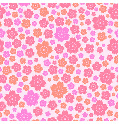 Seamless pattern of cute pink and orange flowers vector