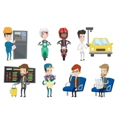 Set of industrial workers and people traveling vector
