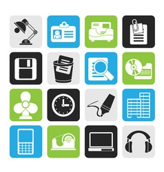 Silhouette Office and business icons vector image vector image