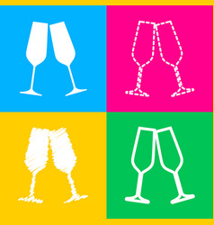 sparkling champagne glasses four styles of icon vector image