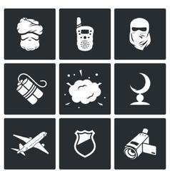 Terrorism icons vector