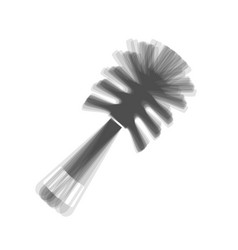 Toilet brush doodle gray icon shaked at vector