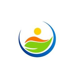 vegetarian leaf people logo vector image vector image