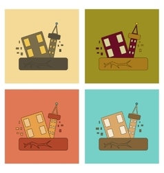Assembly flat icons natural disaster earthquake vector