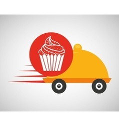 Fast delivery food cup cake dessert vector