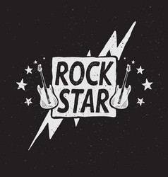 Rock star grunge label vector