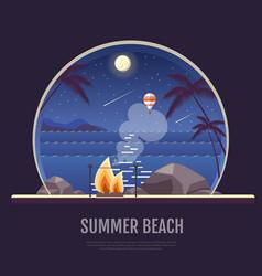 Flat style design of summer beach landscape vector