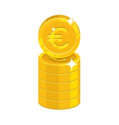 Column gold euro isolated cartoon icon vector