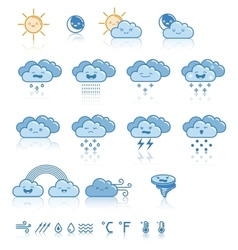Set of weather blue icons vector