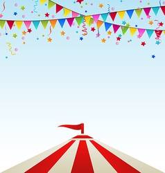 Circus striped tent with flags vector