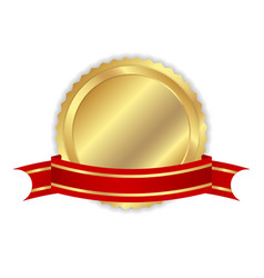 Golden label with ribbon vector image