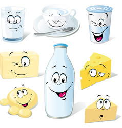 Dairy product cartoon - milk cheeses butter and vector