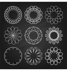 White ornaments set in chalkboard style vector