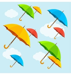 Colorful umbrellas fly with clouds flat vector