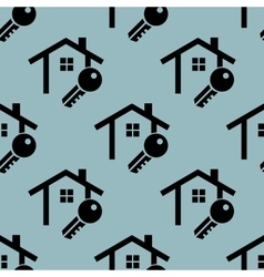 Pale blue house key pattern vector