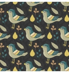 Seamless pattern with birds and leaves vector