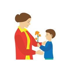 Son gives to mother flowers mothers day vector