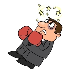 Defeated businessman in boxing gloves vector